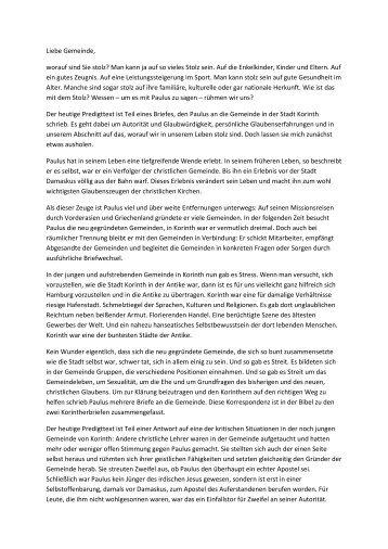 Predigt vom 12. Februar 2012 - ev. Kirche in Lauenburg