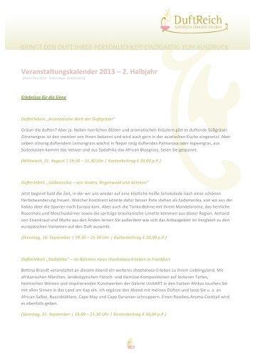 Veranstaltungskalender 2013 - 2. Halbjahr (pdf) - Duft-Reich