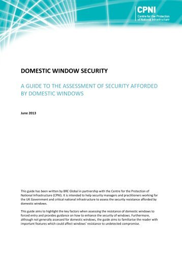 A guide to the assessment of security afforded by domestic ... - CPNI