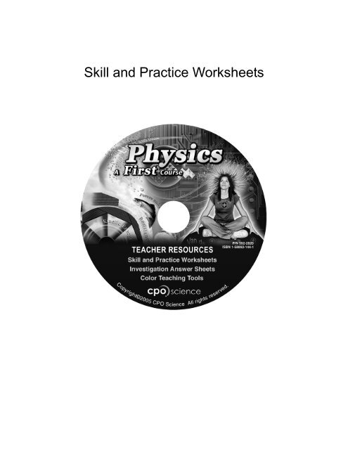 Skill And Practice Worksheets CPO Science