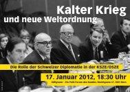 Flyer Event Käfigturm - Diplomatische Dokumente der Schweiz