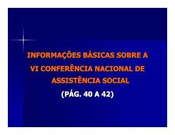 vi conferência nacional de assistência social assistência social