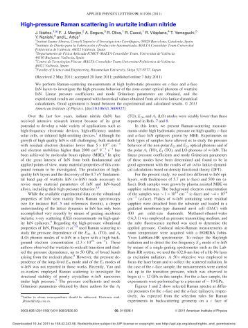 High-pressure Raman scattering in wurtzite indium nitride - UPV