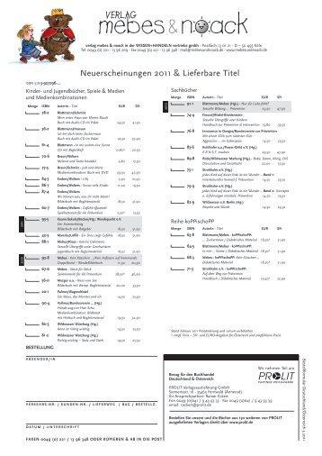 Neuerscheinungen 2011 & Lieferbare Titel - Verlag Mebes & Noack