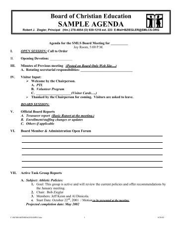 Sample Board Meeting Agenda. Regular Board Meeting Minutes – Board
