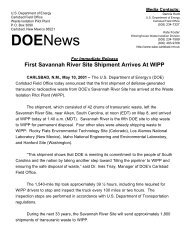 First Savannah River Shipment Arrives At WIPP - Waste Isolation ...