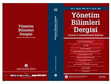 cover - Yönetim Bilimleri Dergisi - Çanakkale Onsekiz Mart ...
