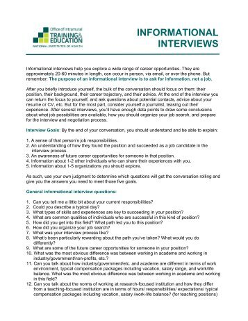 Conduct informational interviews
