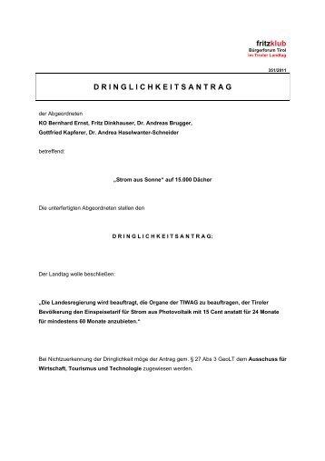 """Dringlichkeitsantrag: """"Strom aus Sonne"""" - Liste Fritz"""