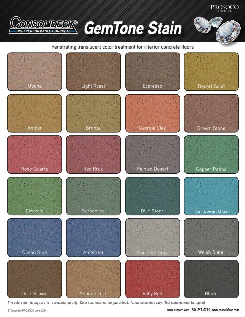 Gemtone Stain Color Chart