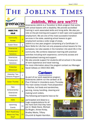 Joblink Times Issue 2 2012 - Greenacres Disability Services