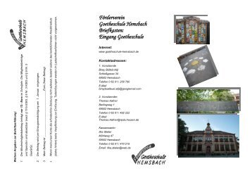 Zum Flyer - Goetheschule Hemsbach Homepage