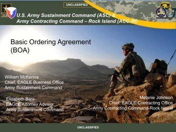 Basic Ordering Agreement (BOA) - Army Sustainment Command
