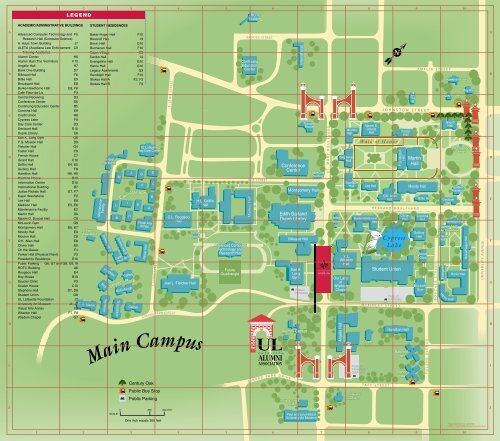 ul lafayette campus map Campus Map University Of Louisiana At Lafayette ul lafayette campus map