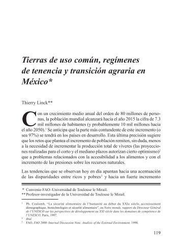 Tierras de uso común, regímenes de tenencia y transición agraria ...