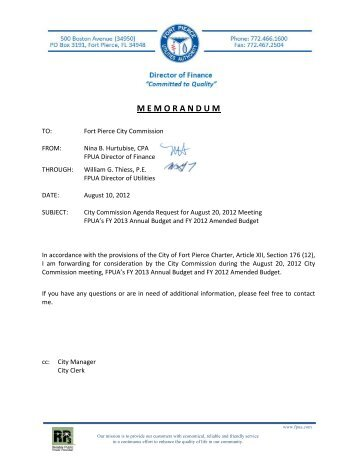 Annual Budget FY 2012-13 - City of Fort Pierce