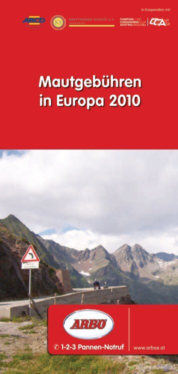 Mautgebühren in Europa 2010 - Arbö