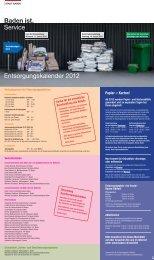 Baden ist. Service Entsorgungskalender 2012