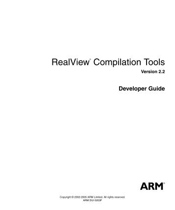 RealView Compilation Tools Developer Guide - ARM Information ...