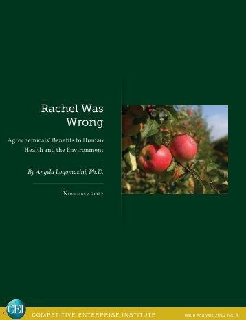 Angela Logomasini - Rachel Was Wrong