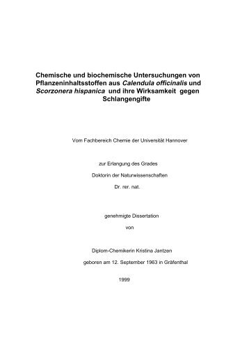 Chemische und biochemische Untersuchungen von ...