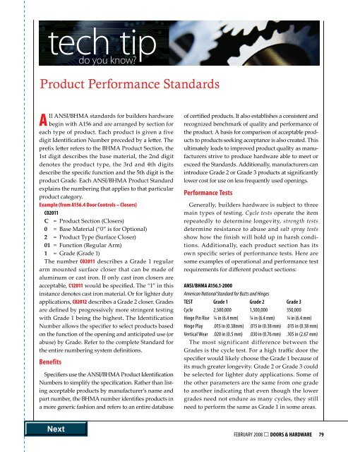 Product Performance Standards - Door and Hardware Institute