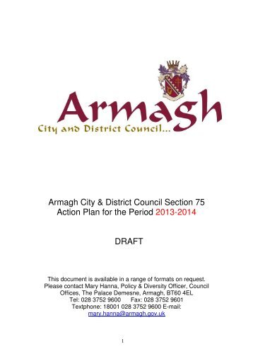 Draft Equality Action Plan 2013 – 2014 - Armagh City and District ...