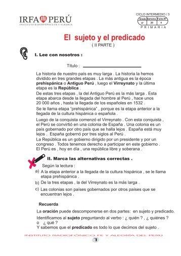 El sujeto y el predicado - Irfa Perú