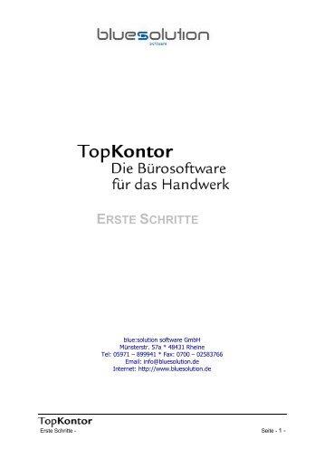 ERSTE SCHRITTE - blue:solution software GmbH