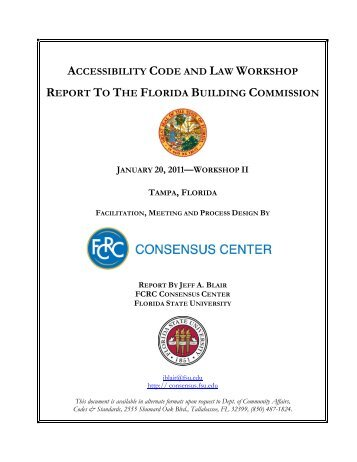 Accessibility Code & Law Workshop II January 20, 2011 Report