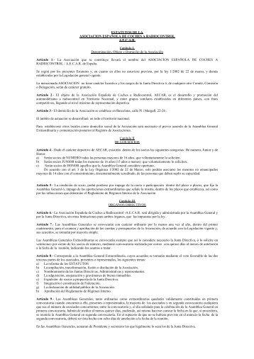Estatutos de la Asociación - Aecar