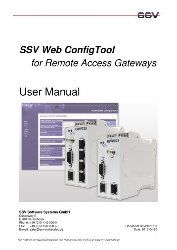 User Manual - SSV Software Systems