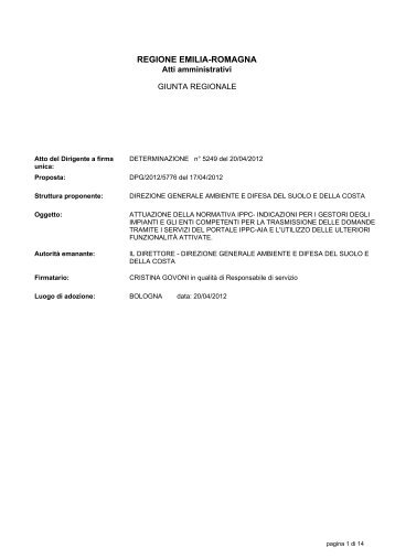 DETERMINAZIONE n° 5249 del 20/04/2012 - Ambiente