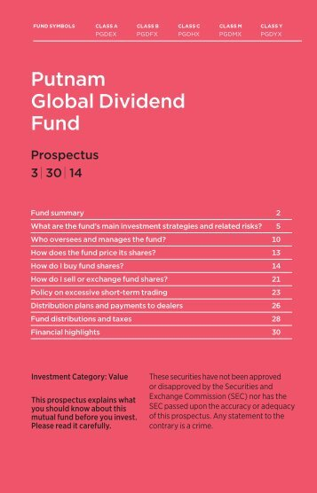 Global Dividend Statutory Prospectus - Putnam Investments