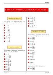 Correction exercices équations du 1er degré - Lyceedadultes.fr