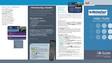IGuide Quick Reference CT - MetroCast