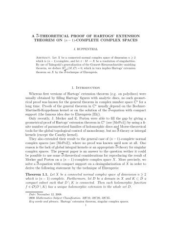 THEORETICAL PROOF OF HARTOGS' EXTENSION THEOREM ON