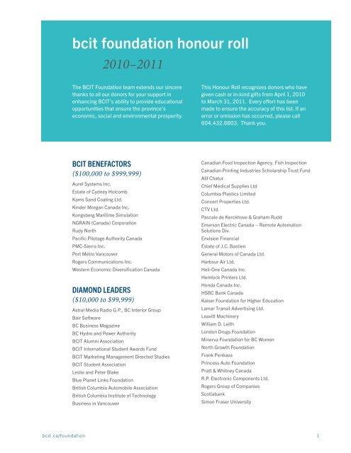 Bcit Bcit Foundation Honour Roll