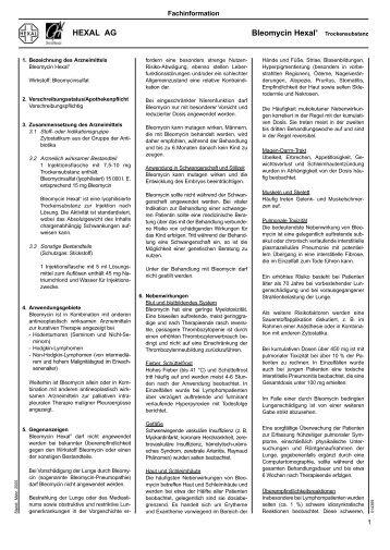 HEXAL AG Bleomycin Hexal® - Bronchialkarzinom Aktuell