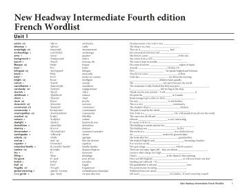 New Headway Intermediate Fourth edition French Wordlist