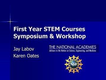 First-Year STEM Courses Symposium & Workshop (Dr ... - SENCER