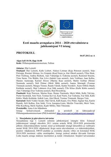 Istungi protokoll - Põllumajandusministeerium