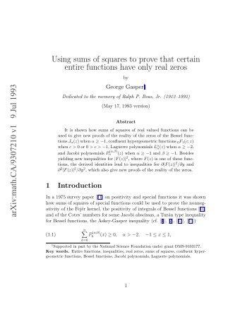 G. Gasper Using sums of squares to prove that ... - Fuchs-braun.com