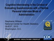 Cognitive Interviewing in the Context of Evaluating Questionnaires ...