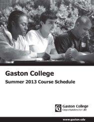 Summer 2013 Schedule - Gaston College