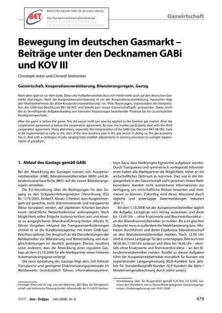 Bewegung im deutschen Gasmarkt – Beiträge unter den - BET Aachen