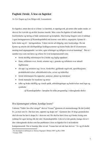 Fagbok i bruk: Å lese en fagtekst - Lesesenteret