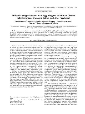Antibody Isotype Responses to Egg Antigens in Human ... - SciELO