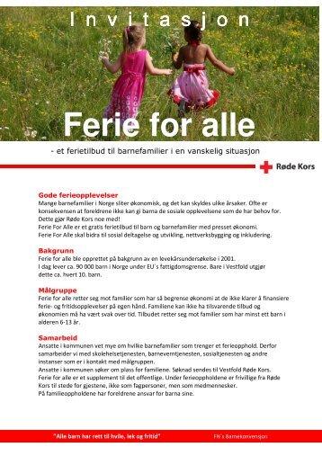 Invitasjon til FERIE FOR ALLE 2011 - Røde Kors