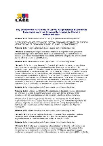 Ley de Reforma Parcial de la Ley de Asignaciones ... - Corpoandes